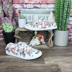 Roxy Bayshore III Floral Shoes White Pink New 10
